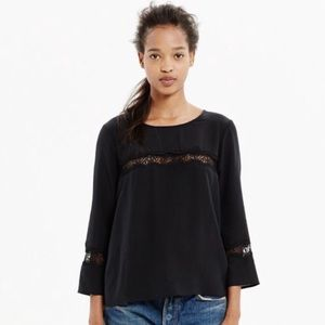 Madewell Black Silk Lace Inset Blouse